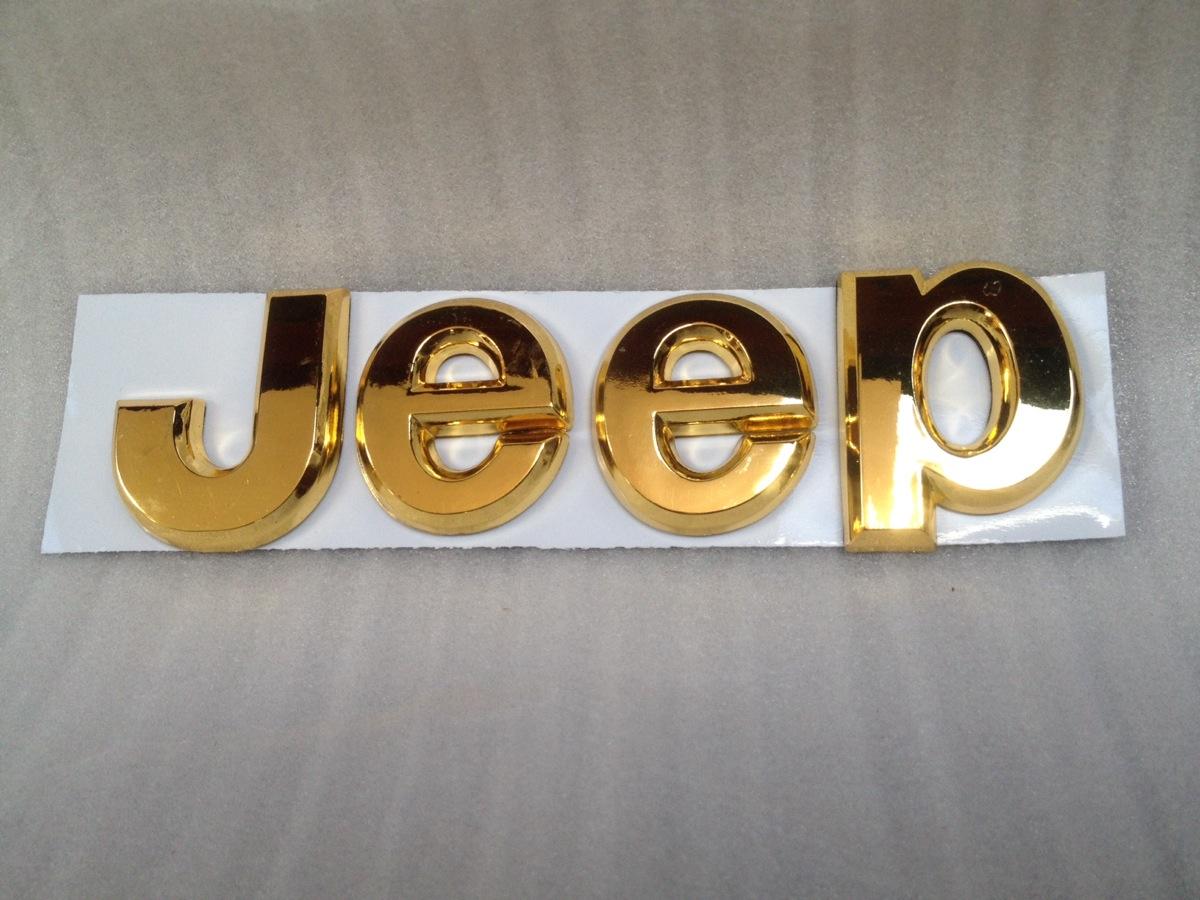 jeep 3d letters emblem badge gold cherokee wrangler