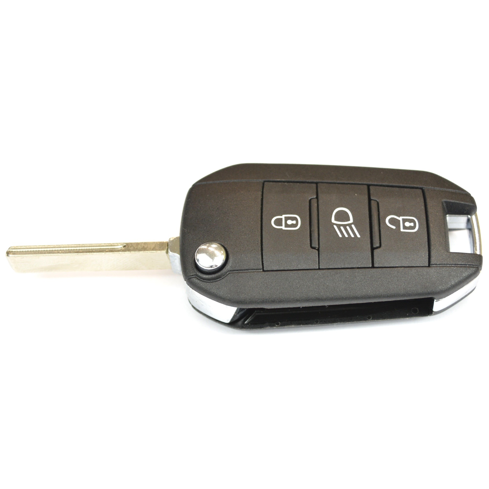 peugeot 3 button remote key fob with chip - evolution gt