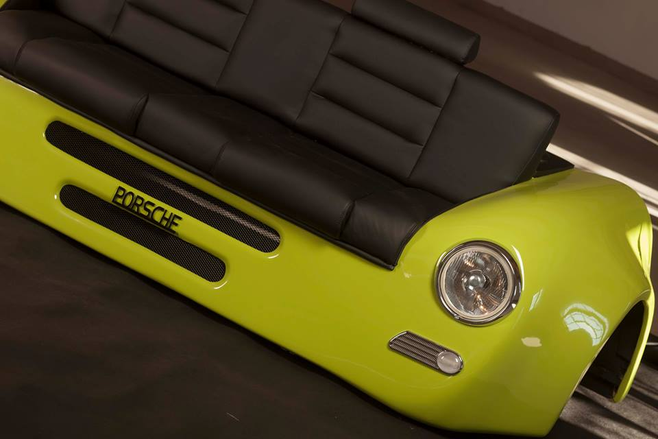 unique sofa Porsche 356 style leather custom seat couch retro