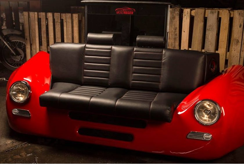 sofa Porsche 356 style leather custom seat couch retro red