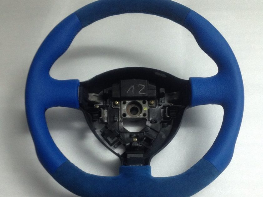 honda civic mk7 steering wheel blue alcantara leather 2001-05