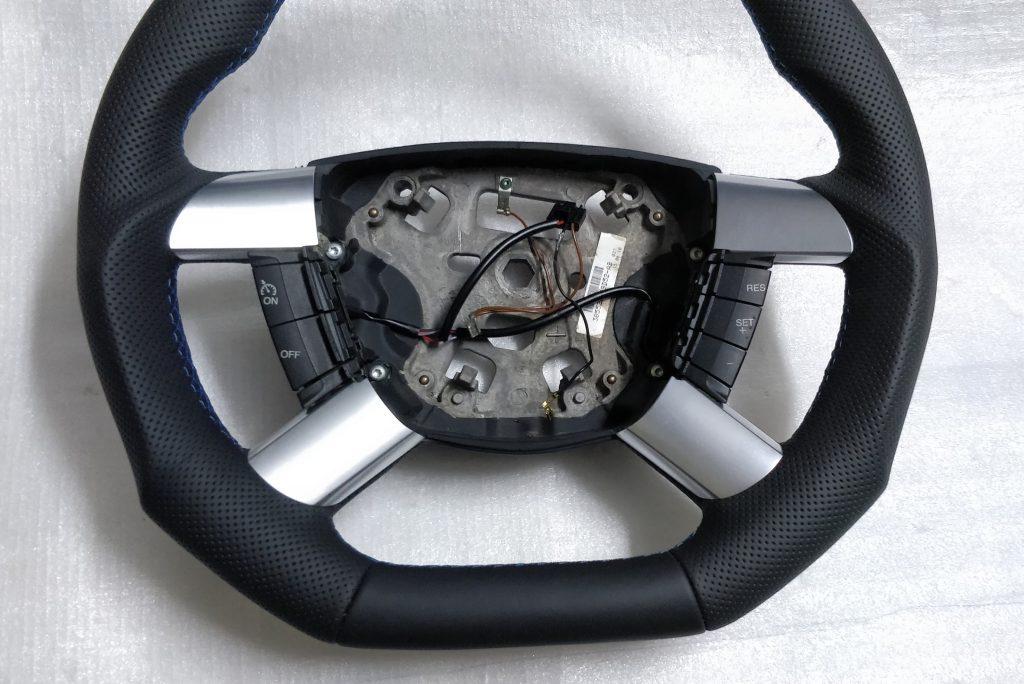 Ford Transit mk7 steering wheel leather custom flat bottom blue stitch 6C11-3600 -CAW 2010