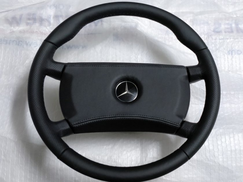 mercedes steering wheel 1264640017 R107 W124 W126 W123 SL SLC + thumb rests New Leather