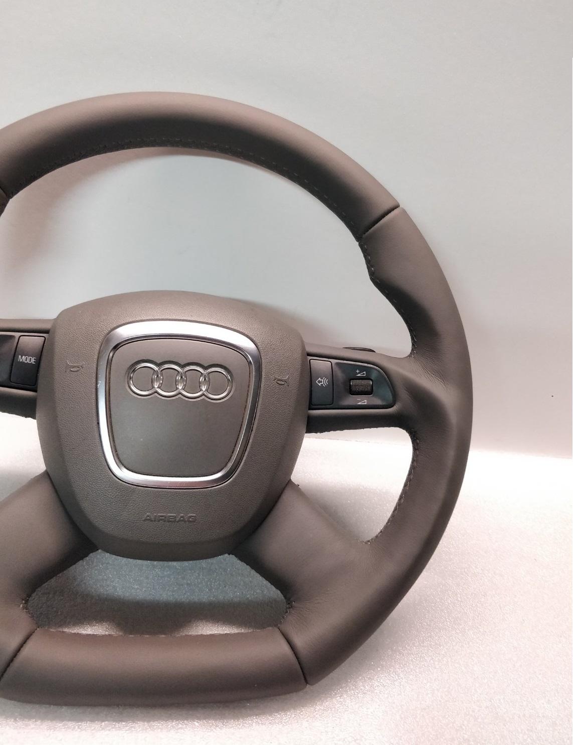 Audi A6 C6 A4 B7 A8 Q7 Steering Wheel Flat Grey Leather Custom Tiptronic Evolution Gt
