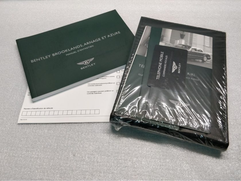 Bentley Arnage R RL Azure Handbook Manuals French Francaise Brooklands